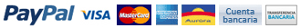 PayPal, Visa, MasterCard, American Express, Aurora, Ingreso en cuenta y Transferencia bancaria